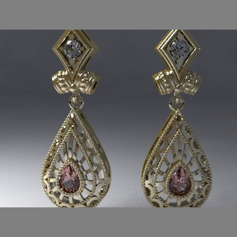 Antony Jewelers Antique style gold earrings with white and brown diamonds