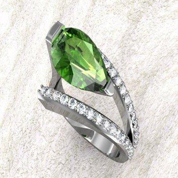 Double shank diamond ring with pear shape peridot