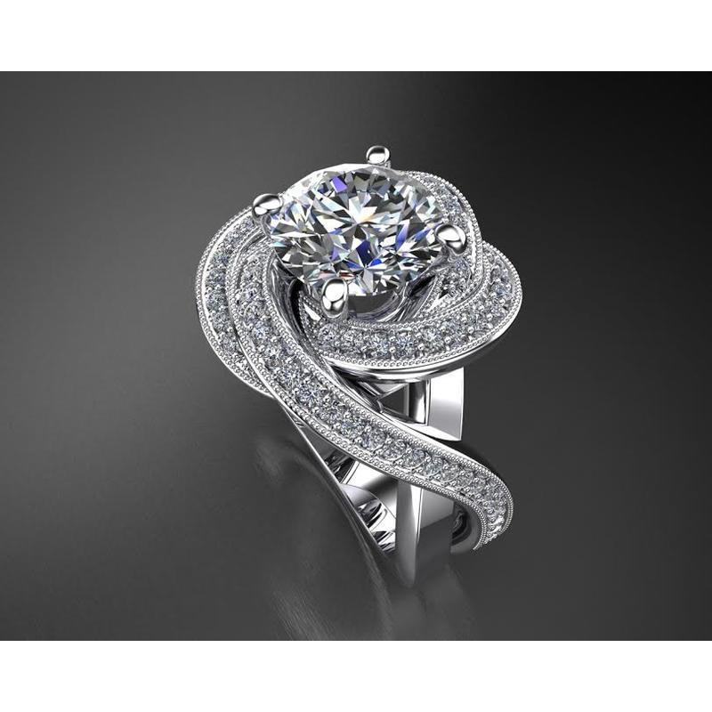 Antony Jewelers Unique Diamond Swirl Engagement Ring