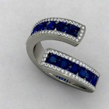 Band with sapphires and diamonds