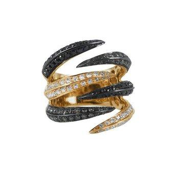 Shark style black and white diamonds fashion ring