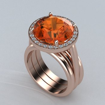 Gorgeous rose gold ring with orange sapphire