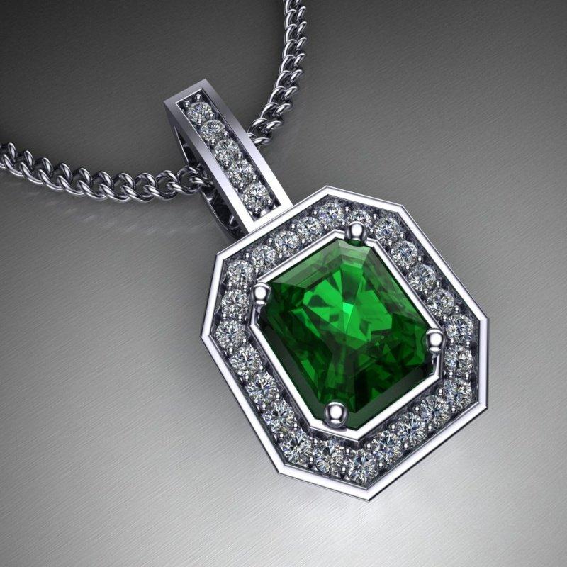 Antony Jewelers  Emerald diamond pendant