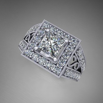 Uniquely detailed engagement ring