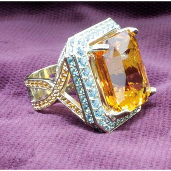 Yellow citrine cocktail ring