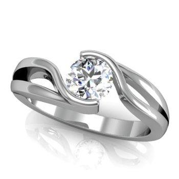 Swirl engagement ring with round diamond