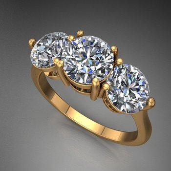 Classical yellow gold engagement ring with 3 round diamonds