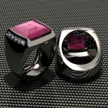Pink ruby men's ring