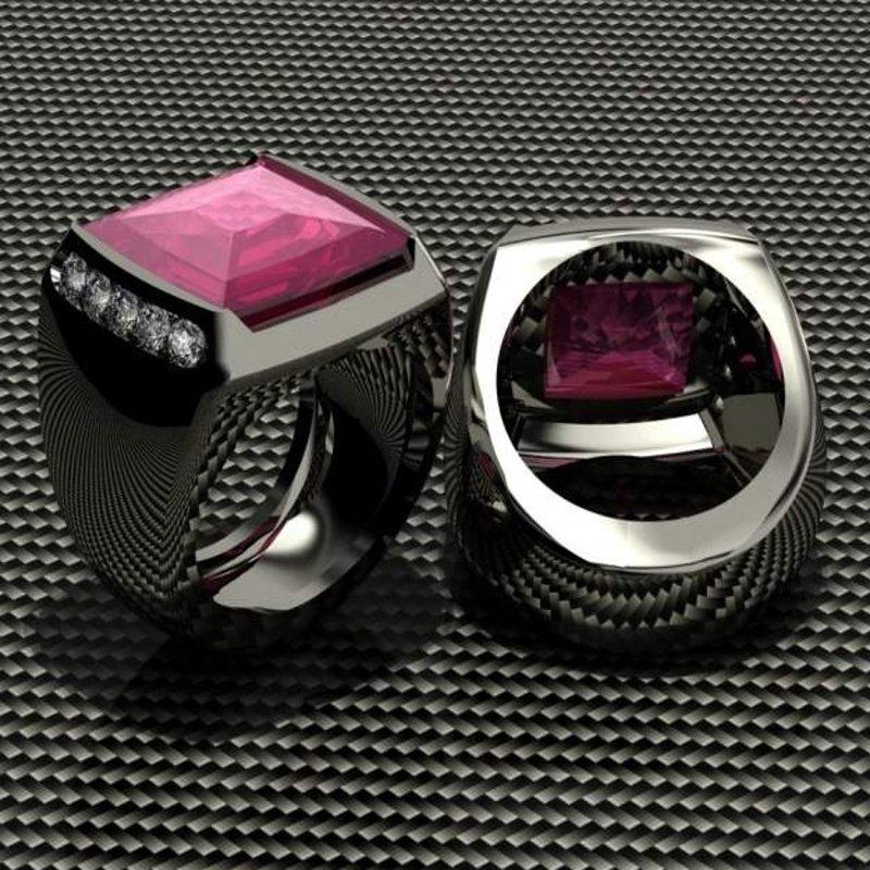 Antony Jewelers Pink ruby men's ring