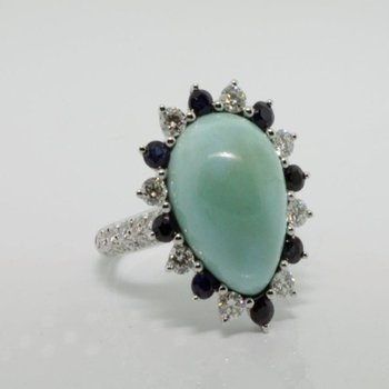 Green and blue fashion ring with tear shape turquoise