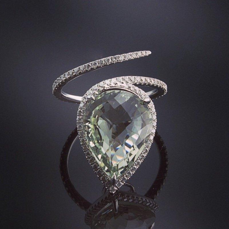 Antony Jewelers Light green amethyst diamond ring
