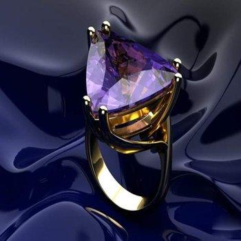 Trillion amethyst deep violet color fashion ring