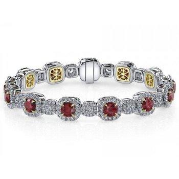 Simple Elegant Colorful Rubies Diamond Bracelet