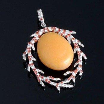 Unique designed yellow jade diamond pendant