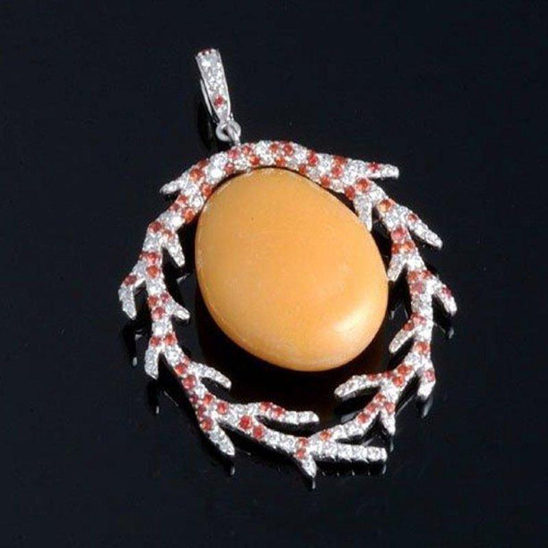 Antony Jewelers Unique designed yellow jade diamond pendant