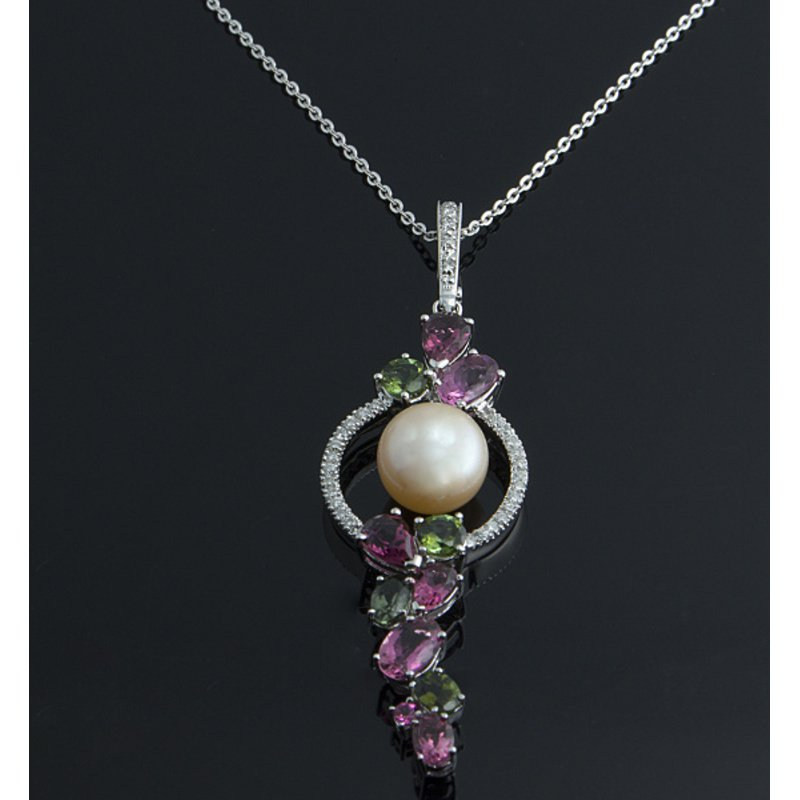 Antony Jewelers Unique pendant with pearl and  multicolor stones