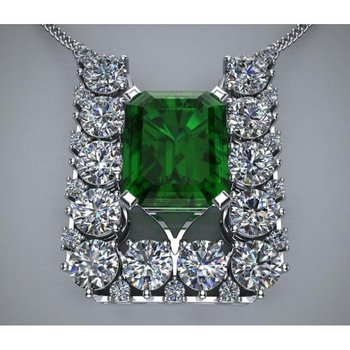 Square style emerald necklace