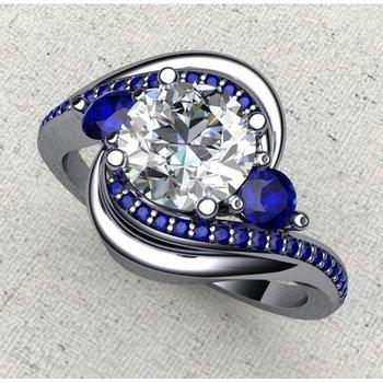 Swirl sapphire engagement ring