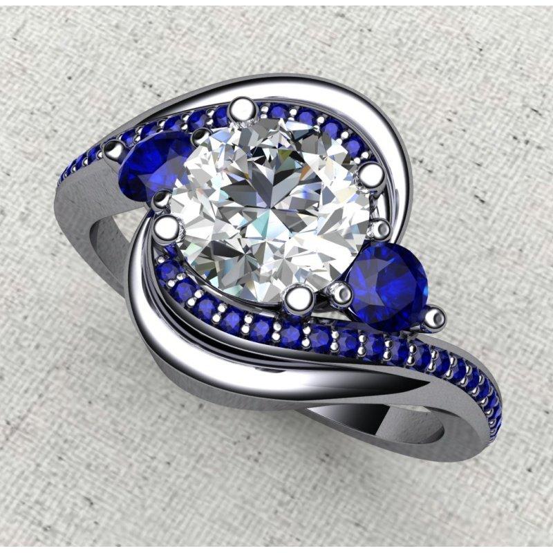 Antony Jewelers Swirl sapphire engagement ring