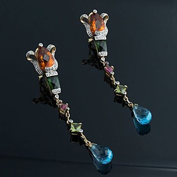 Multicolor stones long earrings