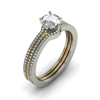 Two tone elegant diamond engagement ring