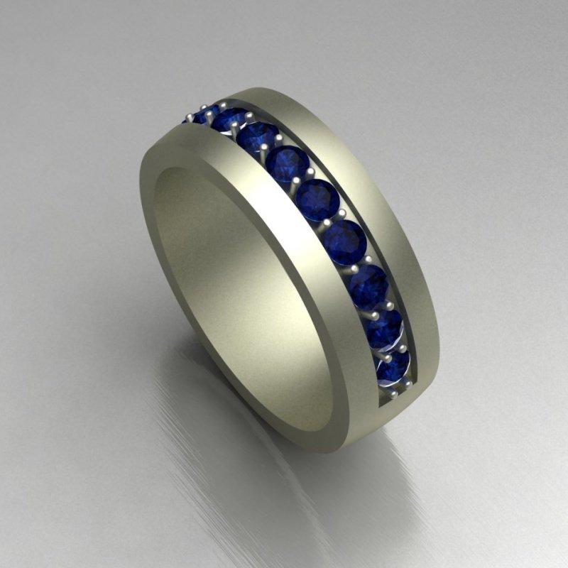 Antony Jewelers Channel set sapphire wedding band