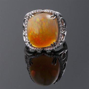 Fashion ring with orange Australian opal