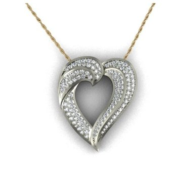 Uniquelly cut heart pendant with diamonds
