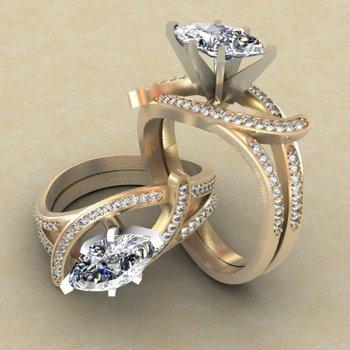 Swirl yellow gold engagement ring