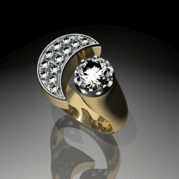 Men's uniquely constructed diamond ring