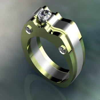 Two tone diamond men's ring