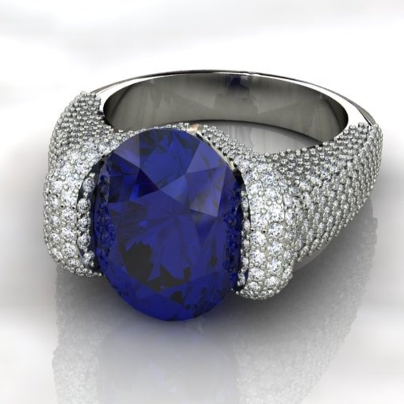 Antony Jewelers Deep blue color sapphire engagement ring