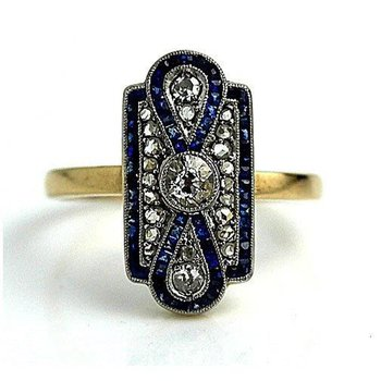 Antique ring with sapphires and diamonds
