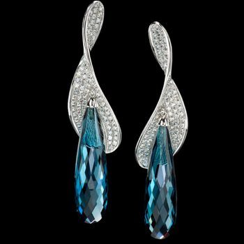 Blue Zircon diamond earrings