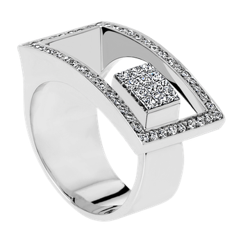 Geometrical design fashion ring