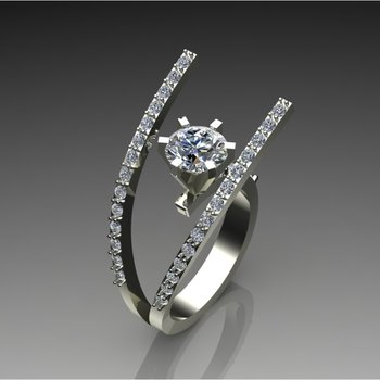 """Fork' style diamond engagement ring"