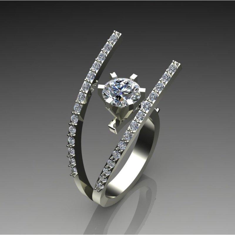 "Antony Jewelers ""Fork' style diamond engagement ring"