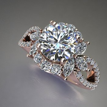 "Master piece ""Flower"" engagement ring with diamonds"