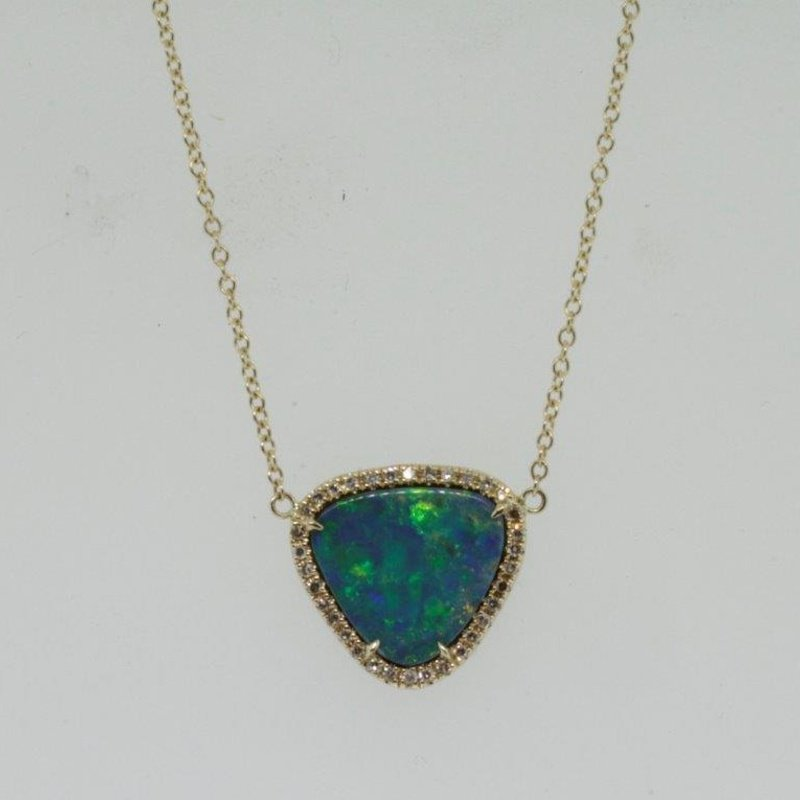 """Antony Jewelers Yellow gold necklace with rare """"Australian Opal"""""""