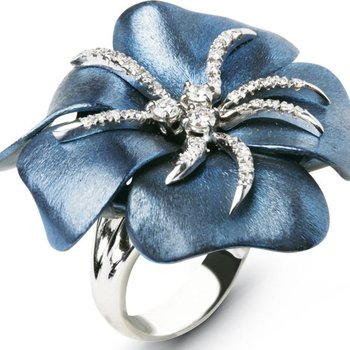 Fashion forward ring with blue enamel and diamonds
