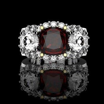 Pigeon blood ruby fashion diamond ring