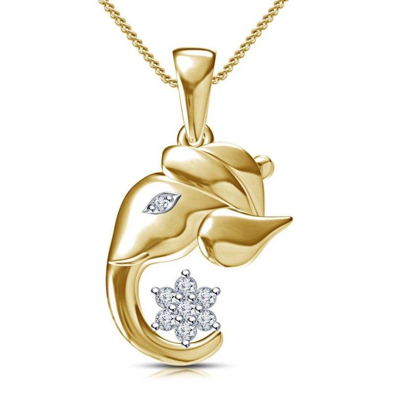 "Antony Jewelers ""Indian Elephant"" gold pendant with diamonds"