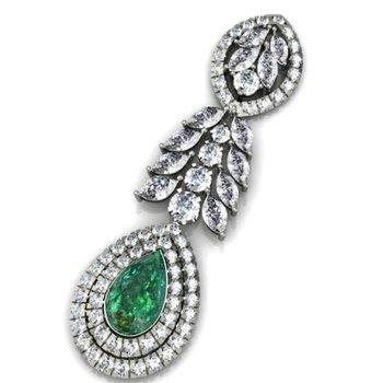 Diamond pendant with  centered emerald stone