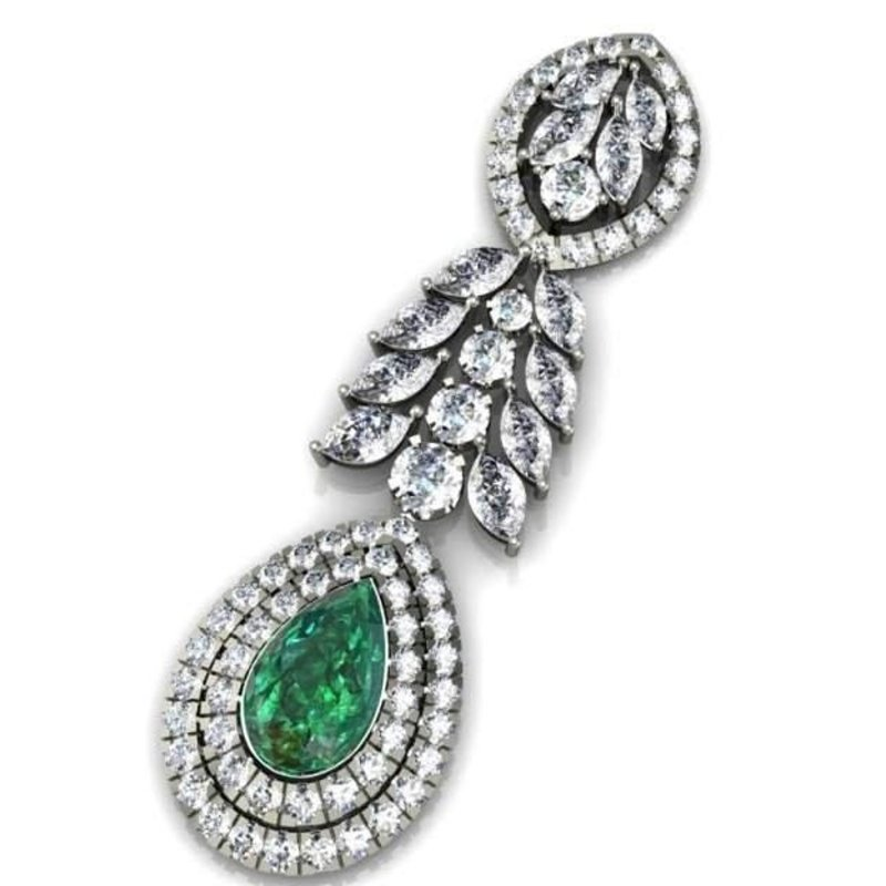 Antony Jewelers Diamond pendant with  centered emerald stone