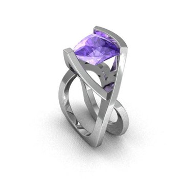 Modern multi layered ring with amethyst