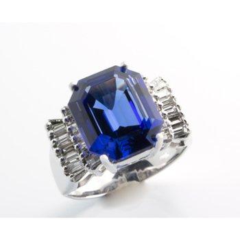 Deep blue AAA quality tanzanite fashion ring