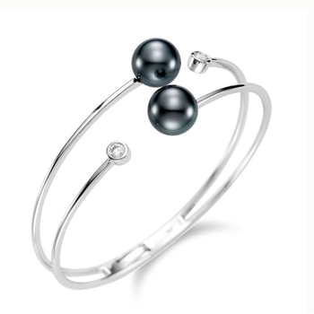 Contemporary design bangle-bracelet with black pearls