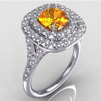 Double halo fancy yellow color yellow diamond engagement ring