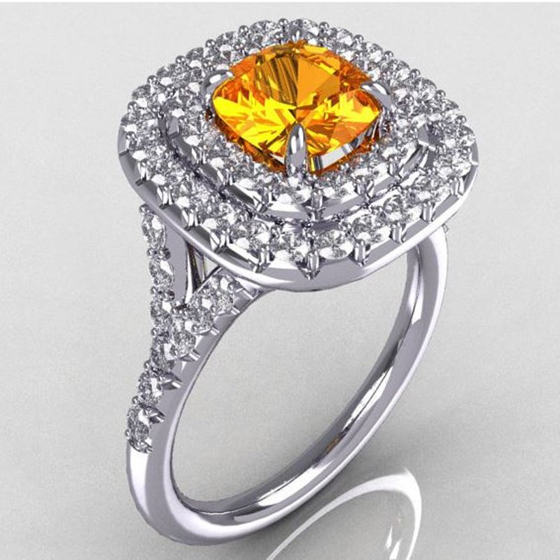 Antony Jewelers  Double halo fancy yellow color yellow diamond engagement ring