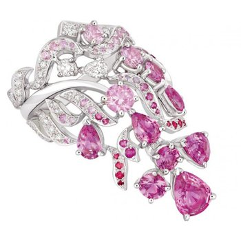 """""""Bondage"""" fashion ring with diamonds and pink sapphires"""